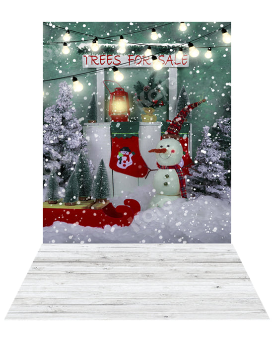 Kate Christmas Tree Backdrop+ Snow Rubber Floor Mat