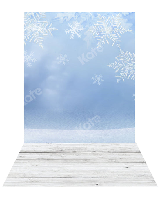 Kate Winter Snowflake Backdrop+ Wood Rubber Floor Mat