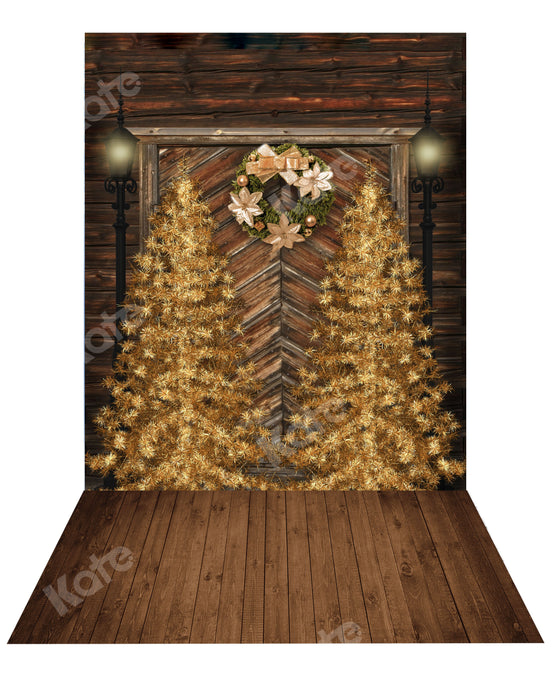 Kate Christmas Gold Tree Backdrop+ Wood Rubber Floor Mat