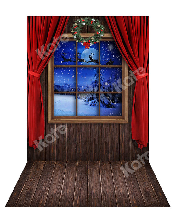 Kate Christmas Window Backdrop+ Wood Rubber Floor Mat