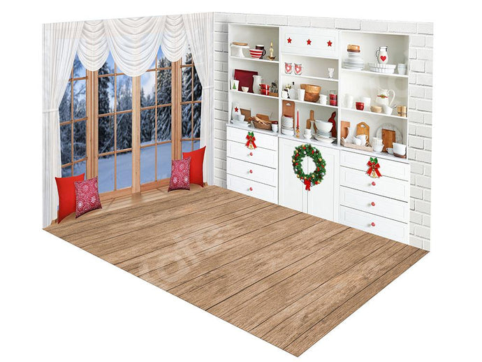 Kate Xmas Christmas White Kitchen Window Room Set