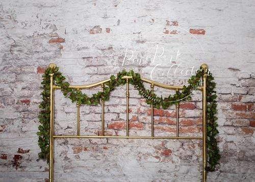Kate Full Brass Bed with Ivy Brick Wall Backdrop for Photography Designed by Pine Park Collection