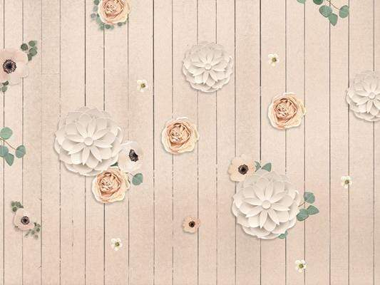 Load image into Gallery viewer, Kate Beige Wood Floor and Flowers Backdrop for Photography designed by Jerry_Sina