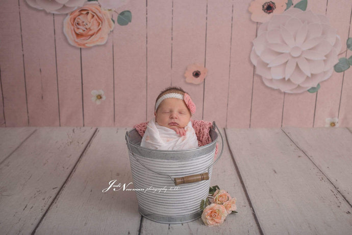 Kate Beige Wood Floor and Flowers Backdrop for Photography designed by Jerry_Sina