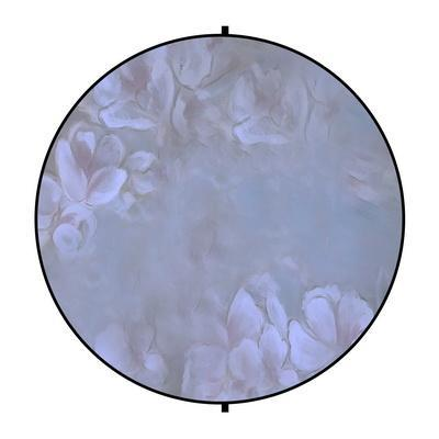 Kate Purple/Orange Flowers Round Mixed Collapsible Backdrop for Baby Photography 5X5ft(1.5x1.5m)