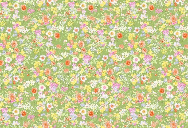 Load image into Gallery viewer, Kate Retro flowers Baby Shower Backdrop for Photography designed by Jerry_Sina