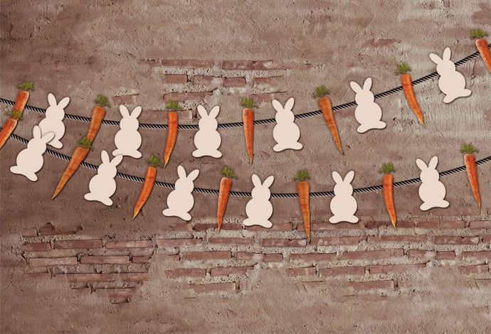 Kate Easter Vintage Wall and Rabbit Decoration Backdrop for Photography designed by Jerry_Sina