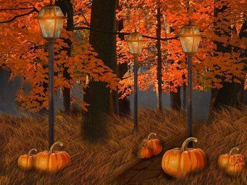 Load image into Gallery viewer, Kate Fall Maple Leaves Thanksgiving Pumpkin Backdrop for Photography Designed By Jerry_Sina