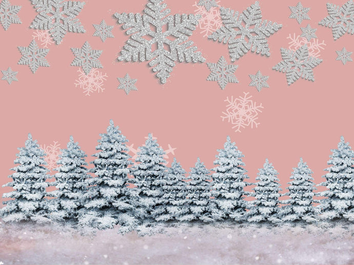 Kate Winter Snow Pine Trees Pink Backdrop Designed By Jerry_Sina