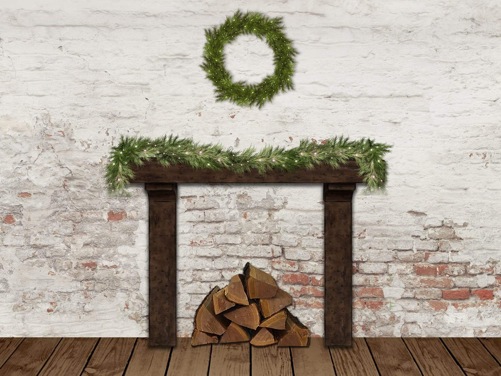 Kate Christmas Wreath Damaged Wall Backdrop Designed By Jerry_Sina