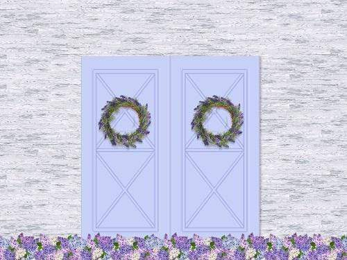 Kate Spring Purple Flower Barn Door Backdrop Designed By Jerry_Sina