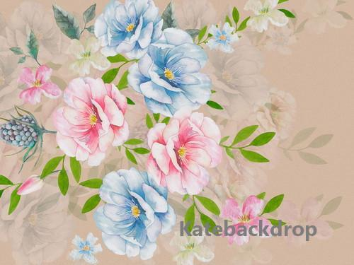 Kate Pink and Blue Floral Spring Backdrop Designed By Jerry_Sina