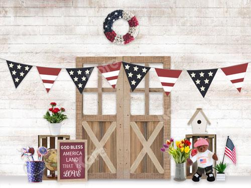 Kate  US Flag Door Backdrop Designed By JS Photography