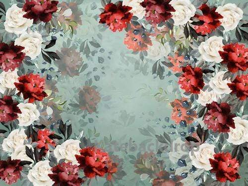 Kate Retro Red and White Flower Pattern Backdrop Designed By Jerry_Sina