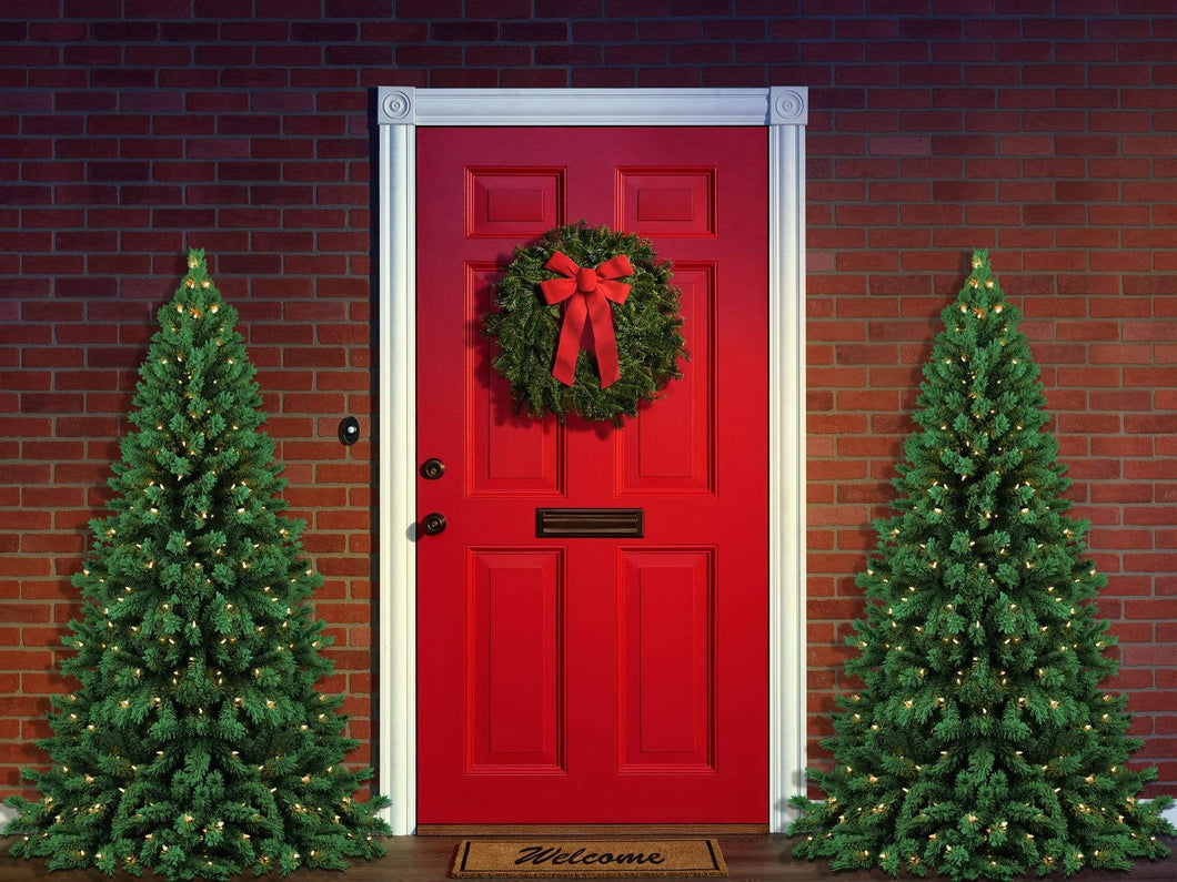 Kate Christmas Trees Red Door Backdrop Designed By Jerry_Sina