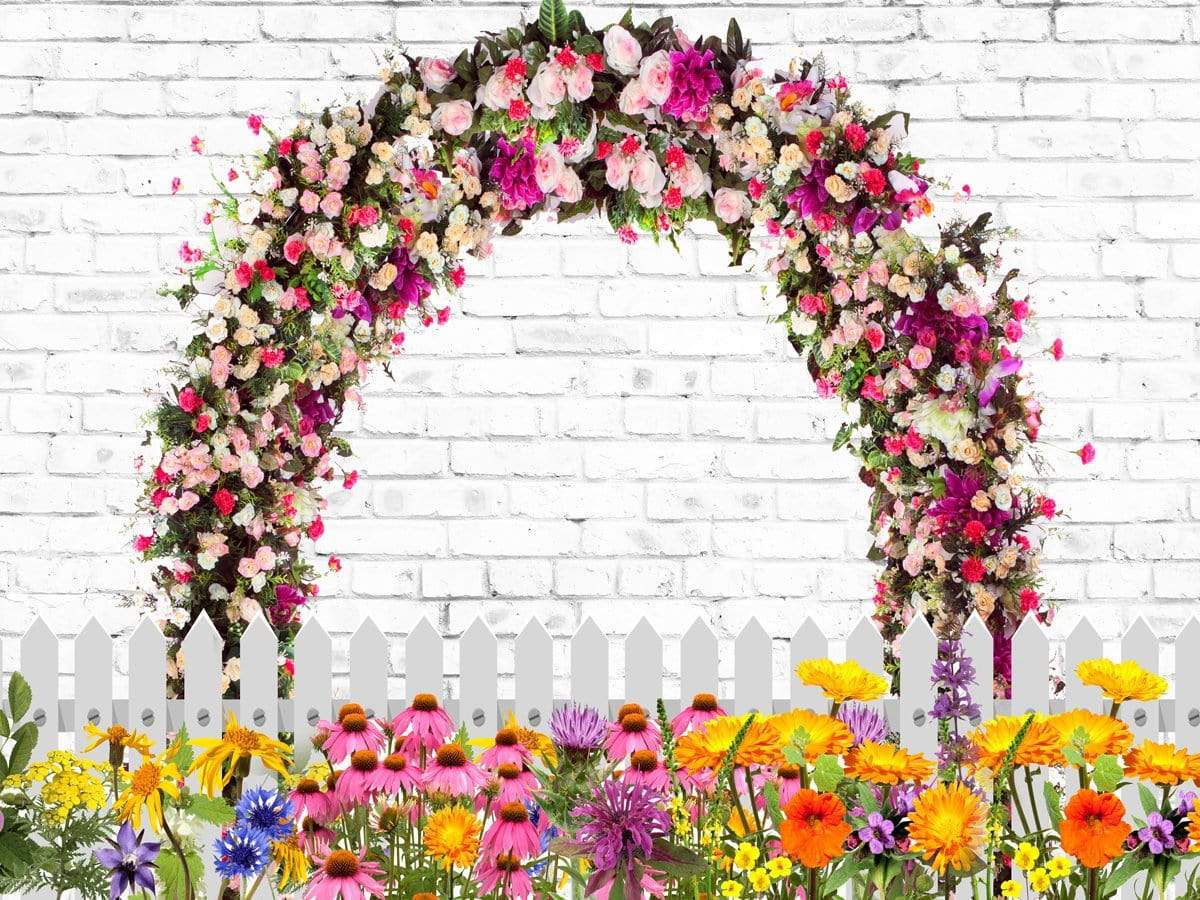 Load image into Gallery viewer, Kate Retro Brick with Spring Flowers and Fence Backdrop for Photography Designed by JFCC