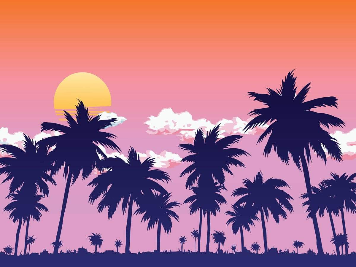 Load image into Gallery viewer, Kate Summer Sunset by the Sea Coconut Tree Backdrop for Photography Designed by JFCC