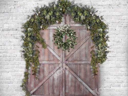 Kate Spring Barn Door Brick Wall Backdrop for Photography
