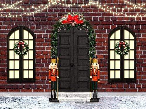 Kate Christmas Door with Windows Brick Wall Backdrop for Photography Designed by JFCC