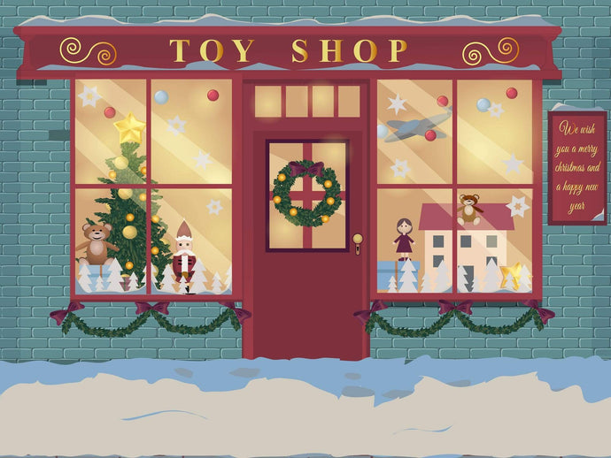 Kate Winter Christmas Window Toy Shop Children Backdrop for Photography Designed by JFCC