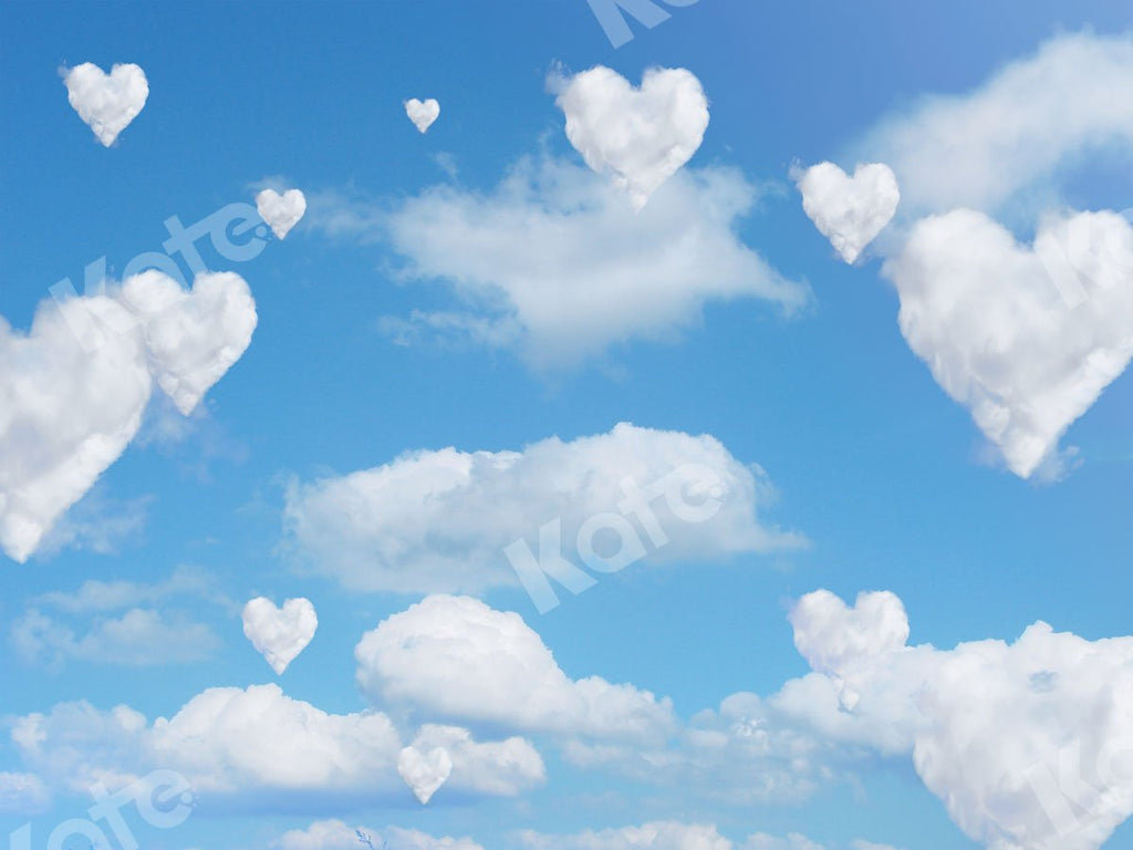 Kate Valentine's Day Blue Sky Love Clouds Backdrop for Photography