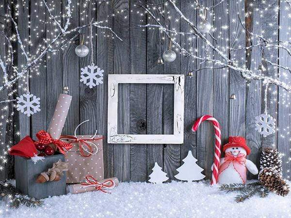 Katebackdrop£ºKate Gray Wood Wall Shinny Tree Snow Photo Background