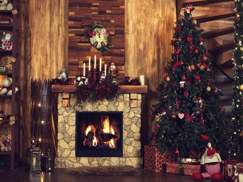 Kate Fireplace With Christmas Tree for Photography