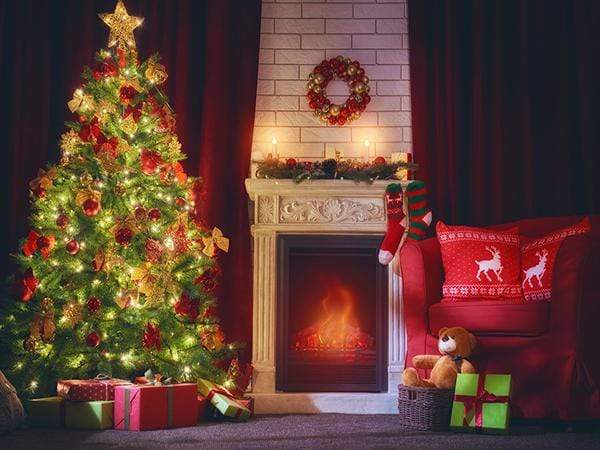Katebackdrop£ºKate Christmas Backdrop Christmas Tree Fireplace Night Scene