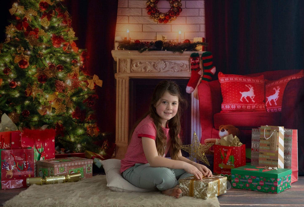 Kate Christmas Backdrop Christmas Tree Fireplace Night Scene