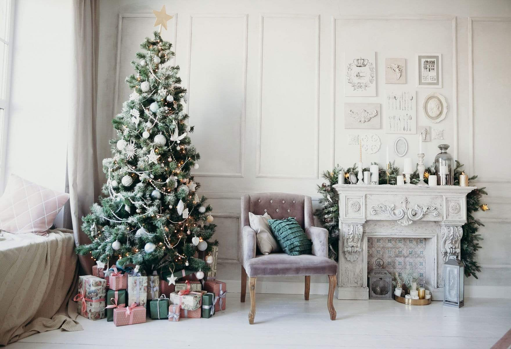 Kate Winter Christmas Trees White Wall Christmas Gifts For Pictures Katebackdrop Au