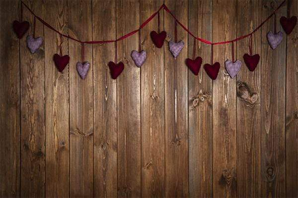 Load image into Gallery viewer, Kate Dark Wood Wall with Hearts Valentine's Day Backdrop for Photography