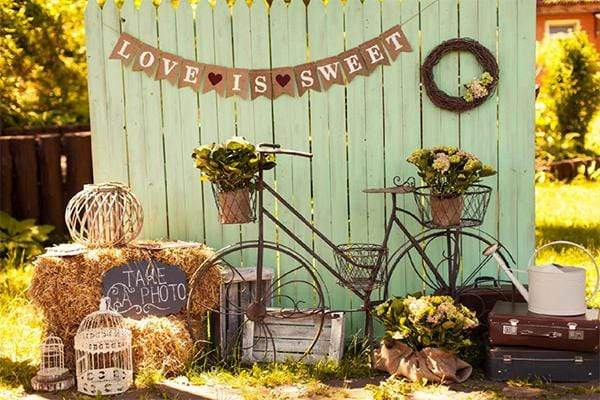 Load image into Gallery viewer, Kate Grass With Bicycle Valentine's Day Backdrop for Photography
