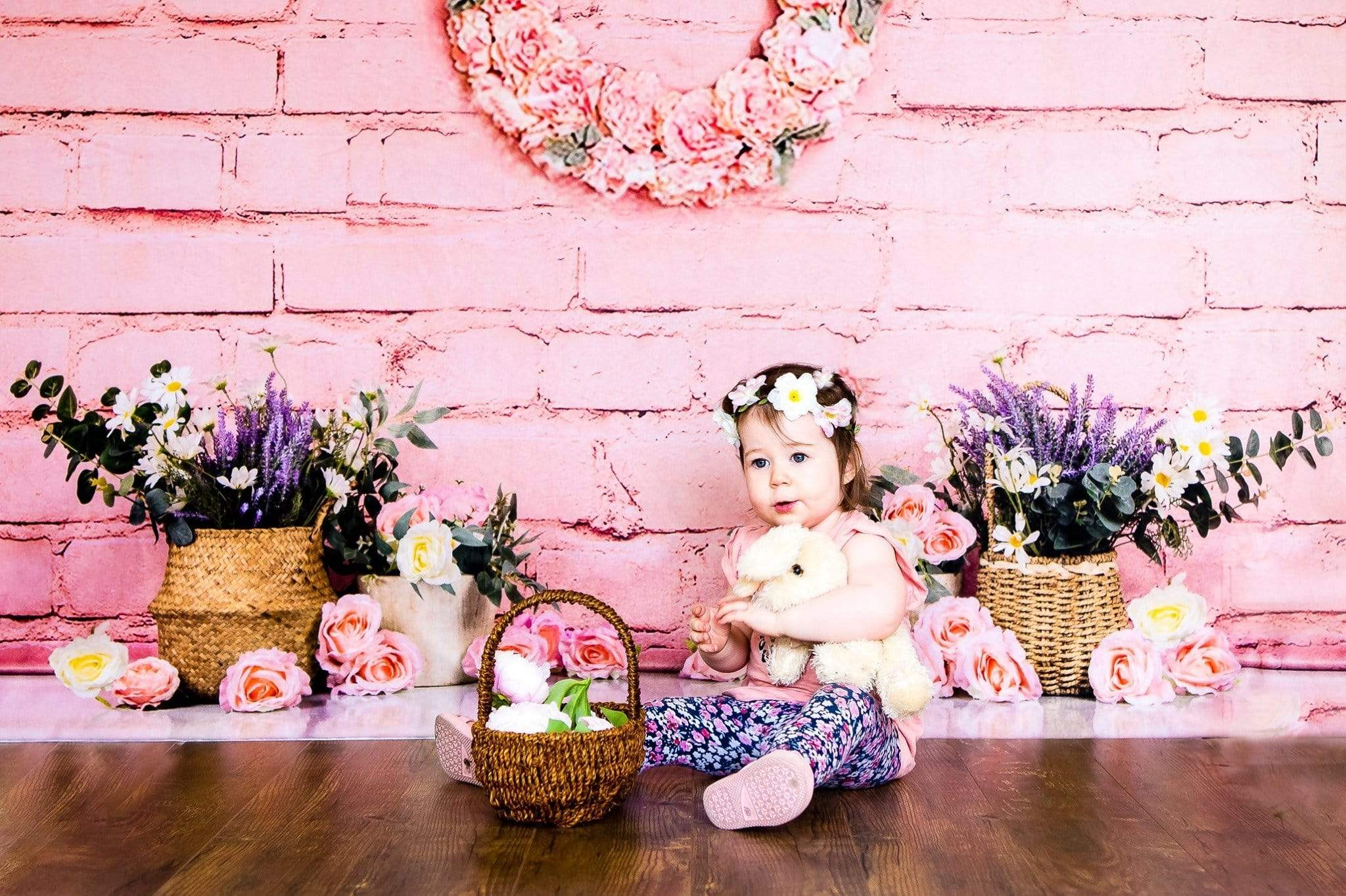 Load image into Gallery viewer, Kate Pink Brick Wall Spring Floral Backdrop Designed by Jia Chan Photography