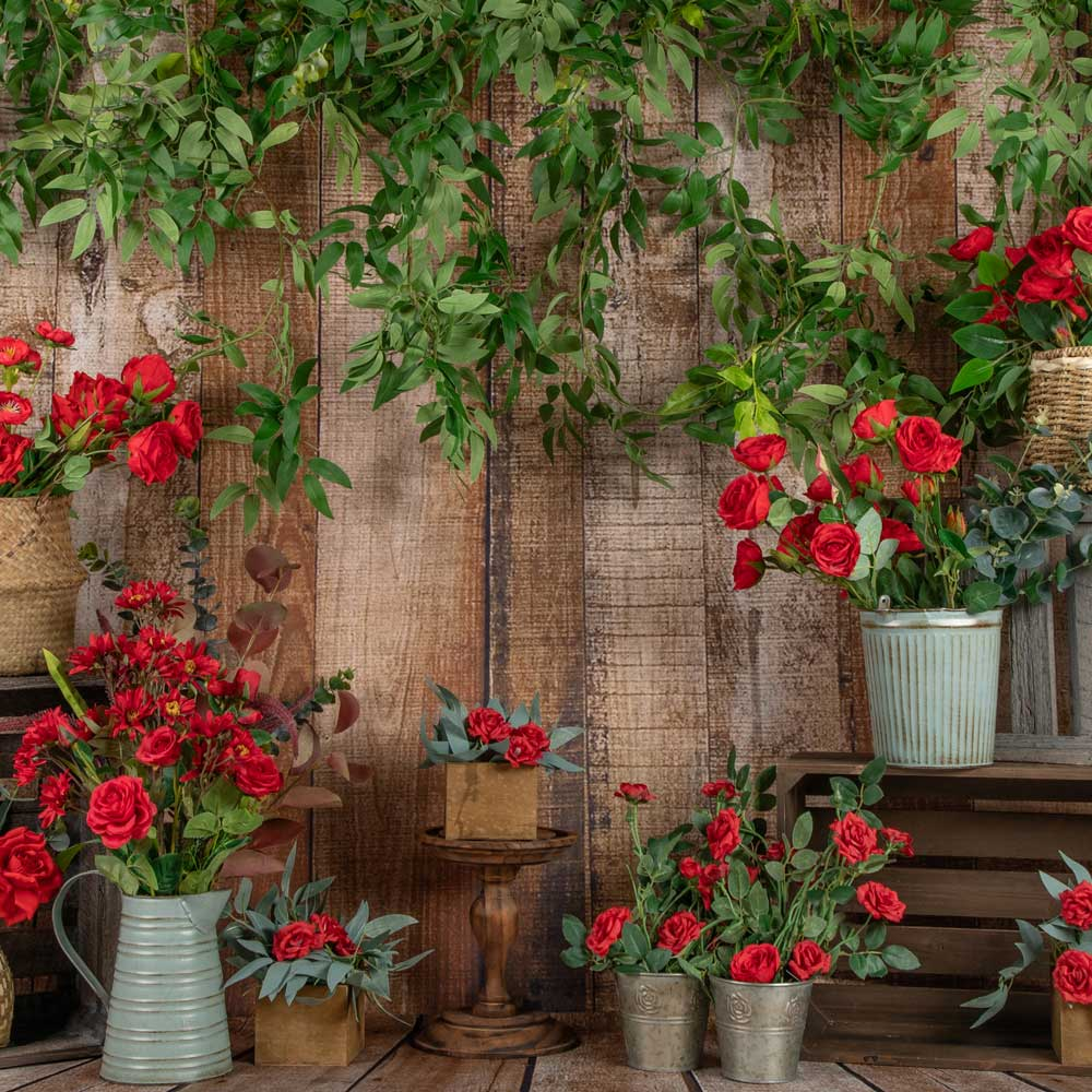 Load image into Gallery viewer, Kate Spring Red Flower Wooden Backdrop Designed by Jia Chan Photography