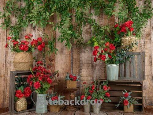 Kate Spring Red Flower Wooden Backdrop Designed by Jia Chan Photography