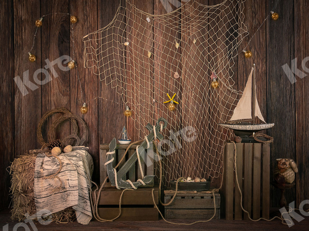 Kate Brown Wood Sailboat Anchor Summer Backdrop Designed by Jia Chan Photography