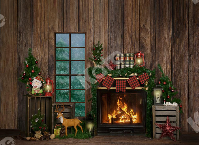 Kate Winter Christmas Backdrop Wood Fireplace Designed by Jia Chan Photography