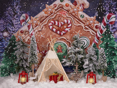 Kate Christmas Gingerbread House Tent Backdrop Designed by Emetselch