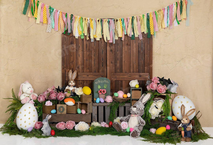 Kate Easter Eggs Bunny Rabbits Door Backdrop Designed by Emetselch