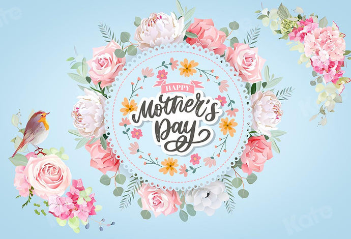Kate Mother's Day Flowers Blue Backdrop Designed by GQ