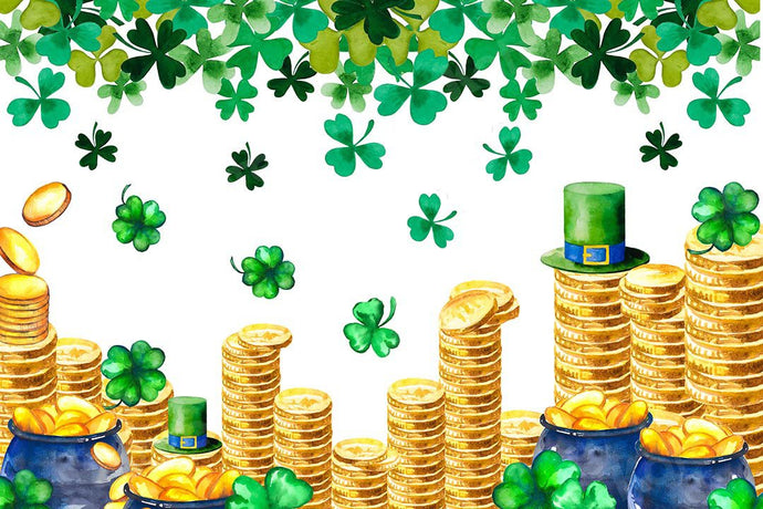 Kate St. Patrick's Day Shamrocks Gold Coin Backdrop Designed by Chain Photography