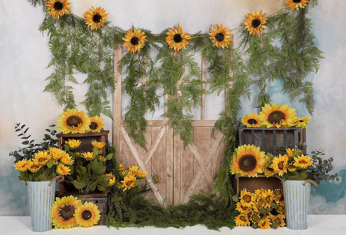 Kate Spring Sunflowers Vines Door Backdrop Designed by Emetselch