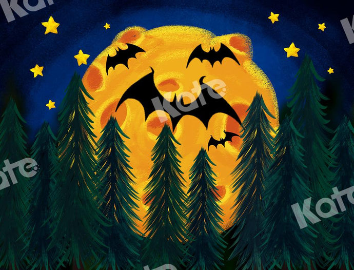 Kate Halloween Backdrop Star Moon Forest Bats Designed by Chain Photography
