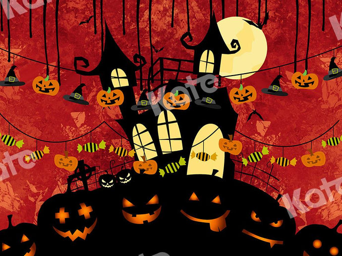 Kate Halloween Backdrop Pumpkins House Designed by Chain Photography
