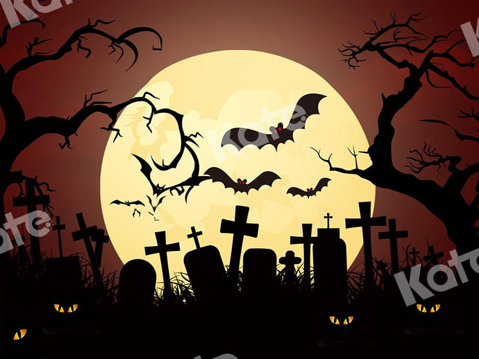 Kate Halloween Backdrop Moon Cemetery Bats Designed by Chain Photography