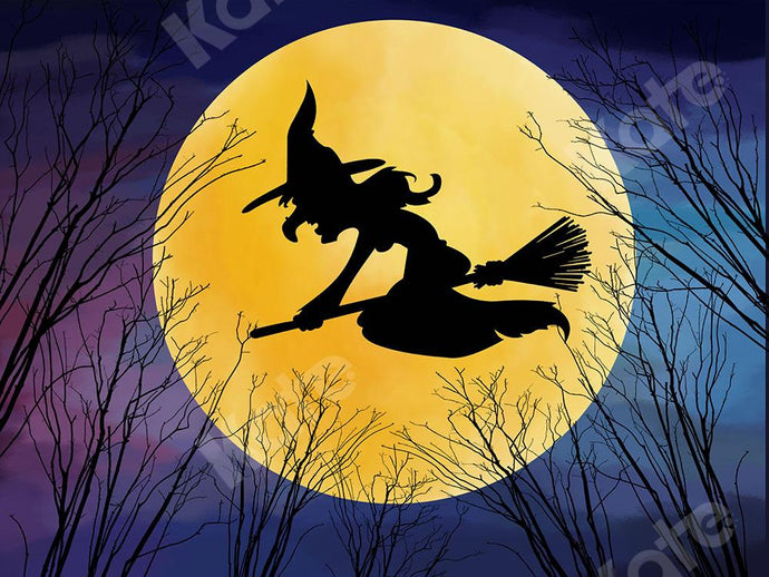 Kate Halloween Backdrop Witch Moon Night Designed by Chain Photography