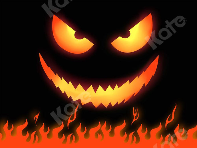 Kate Halloween Backdrop Fire Ghost Face Designed by Chain Photography