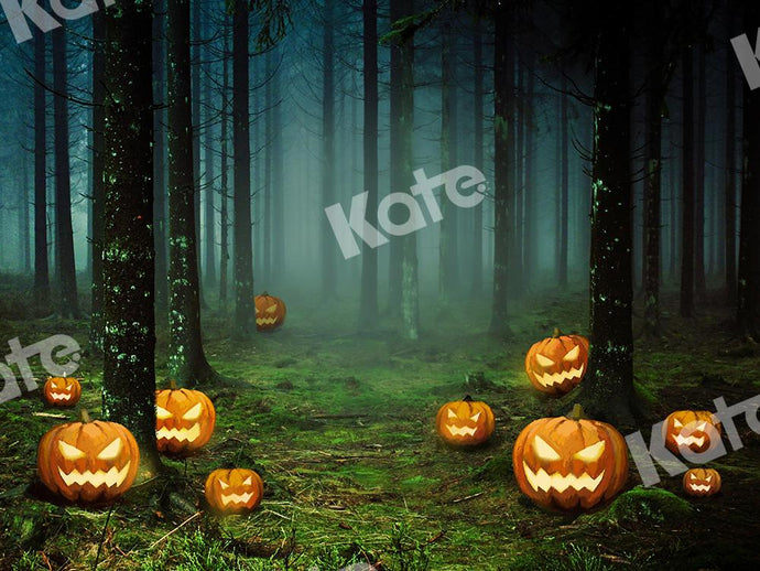 Kate Halloween Backdrop Pumpkins Forest Designed by Chain Photography