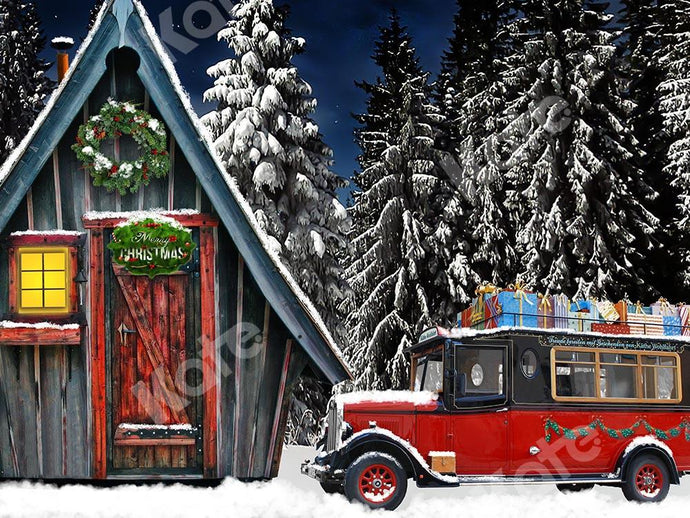 Kate Christmas Wood House Snow Forest Outdoor Backdrop Designed by Chain Photography