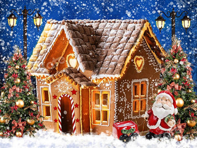 Kate Gingerbread House Christmas Snow Backdrop Designed by Chain Photography